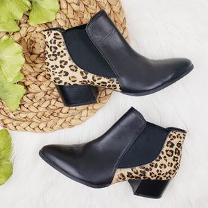 Via Spiga // Black & Leopard Print Leather Booties